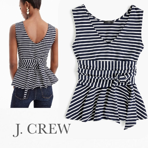 92742516ee437 J. Crew Sleeveless Tie-Waist Peplum Top in Stripe